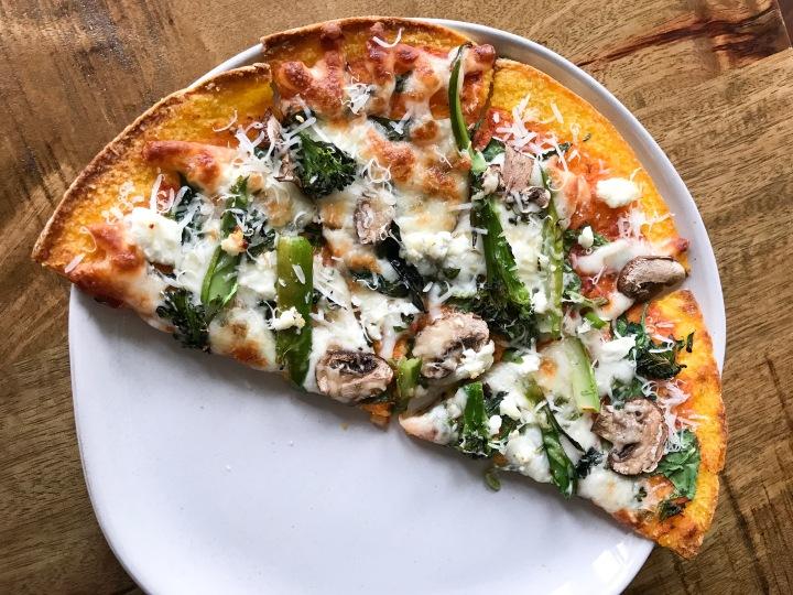 3-cheese Veggie pizza on Trader Joe's Butternut Squashcrust